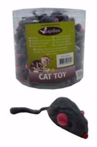 Myš s kožešinou, šedá chrastící -5cm